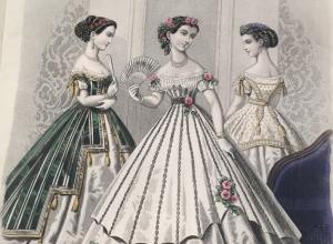 Fashion plate from Le Monde élégant (The Elegant World)