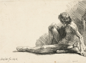 Study from the Nude: Man Seated on Ground, with One Leg Extended