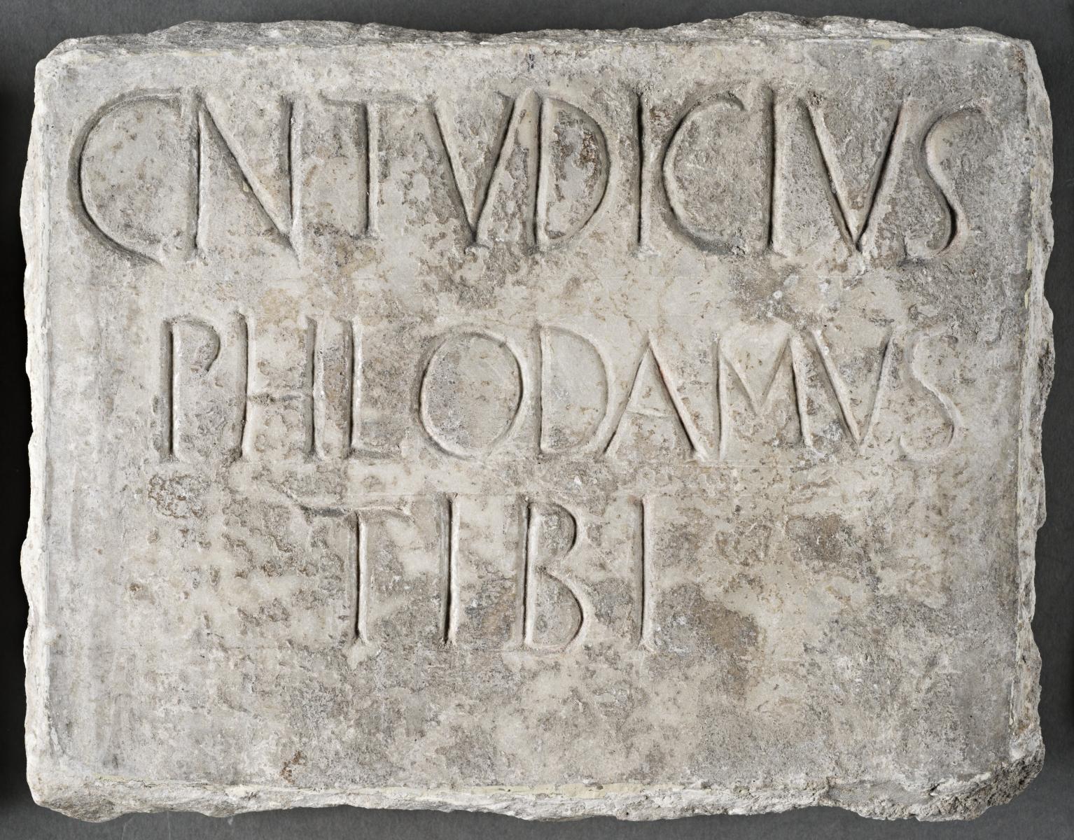 Columbarium plaque for Gnaeus Tudicius Philodamus