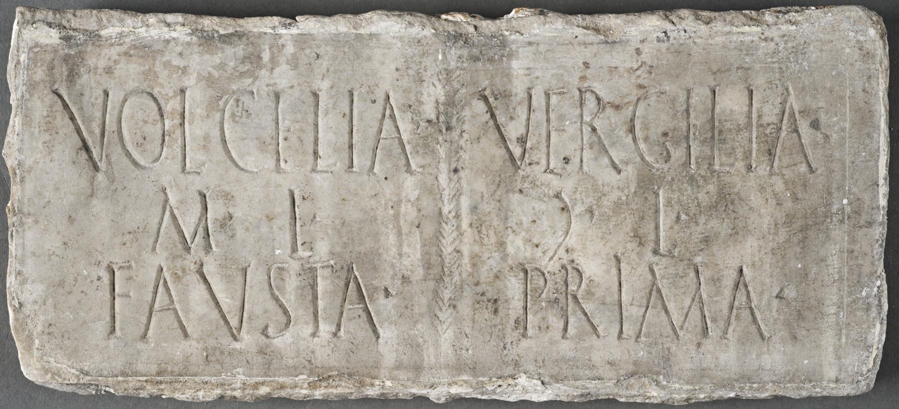 Columbarium plaque for two freedwomen, Volcelia Fausta and Vergilia Prima