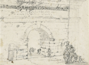 Sketch of Roman Arches and Gateway