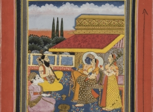 Sri Raga, Lord and Lady Listening to Musicians, from a Ragamala series