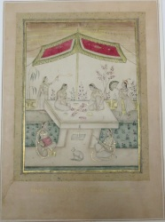 Ladies Playing Chaupar with Attendants and a Cat