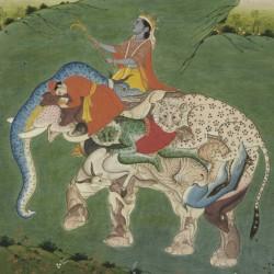 Krishna Riding a Composite Elephant