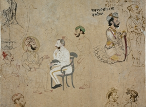 Page of Sketches with Rajput King, Noblemen, and British Political Agent