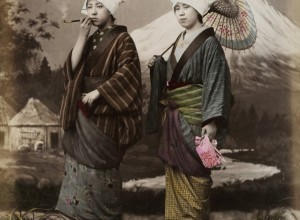 Two Women before Painted Backdrop of Mount Fuji