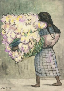 """Diego Rivera Mexican, 1886–1957 """"Peasant Girl with Flowers"""" Watercolor on paper Gift of Mrs. Kenneth E. Jewett (Charlotte Wood, class of 1926), in memory of Beatrice Flint Brewster, class of 1926, 1970.10"""