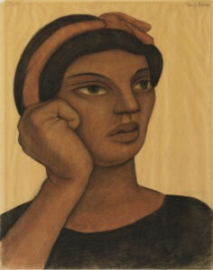 """Diego Rivera Mexican, 1886–1957 """"Portrait of a Woman"""" Crayon on paper Gift of Katherine Stone White, class of 1936, 1986.8.2"""