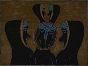 "Simon Tookoome Utkusiksalingmiut, Inuit (Tariunnuaq [Chantrey Inlet], Nunavut, Canada), 1934–2010 ""Heads"", 1994 Pencil and crayon on black paper Gift from the Edward J. Guarino Collection in honor of Michael Burns, 2010.13.46"