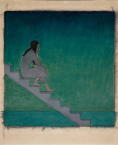 """Will Barnet American, 1911–2012 """"Woman on Stairs"""", 1982 Oil pastel, gouache, and graphite on paper Gift of Lily, Erin and Tom Connelly, 2011.32.1"""
