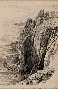 """William Trost Richards American, 1833–1905 """"Lands End, Cornwall"""" Pen and ink on cardstock Gift of Ellen G. Milberg, class of 1960, in honor of Patricia Phagan, 2017.45.4"""