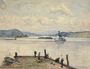 """Henry A. Van Ingen American, b. Netherlands, 1833–1898 """"Wharf on the Hudson"""", 1894 Watercolor on paper X.142"""