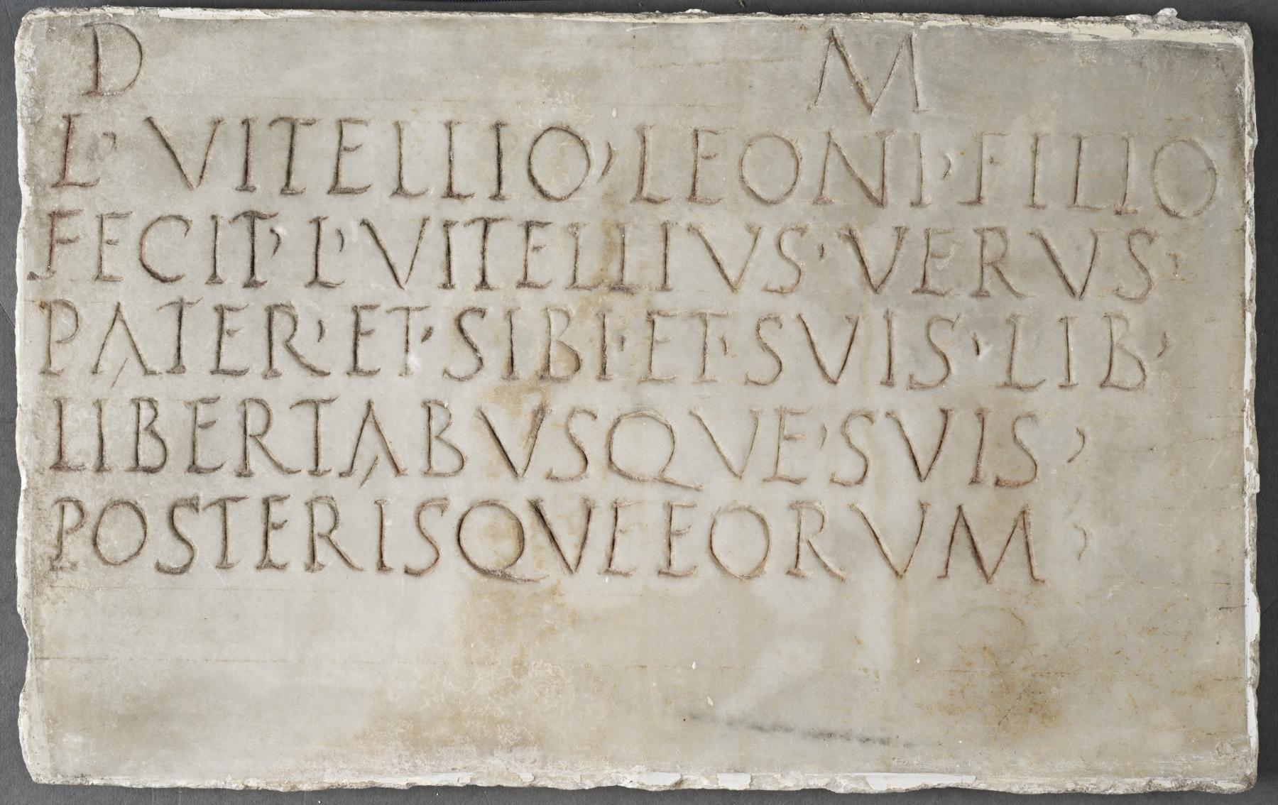 Plaque from a family tomb erected by Lucius Vitellius Verus upon the death of his son Lucius Vitellius Leo