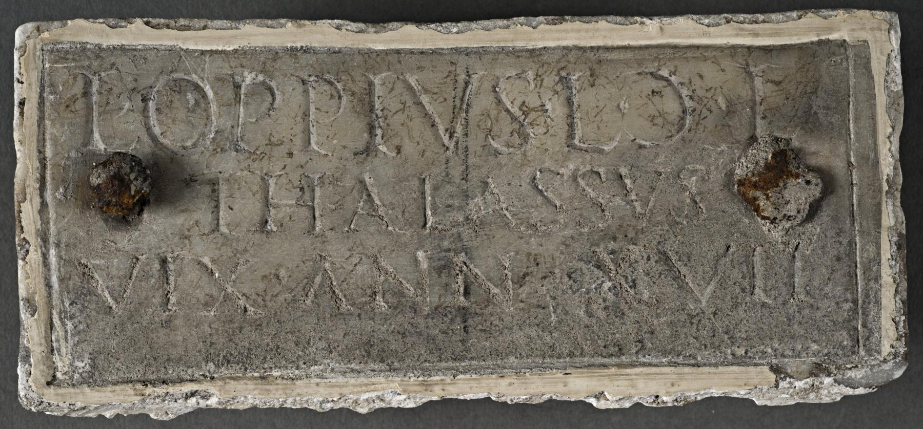 Columbarium plaque for Lucius Oppius Thallasus