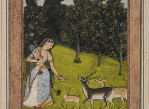 Todi Ragini, Woman with Musical Instrument and Blackbuck, from a Ragamala series