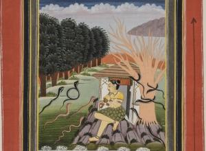 Asavari Ragini, Woman Charming Snakes, from a Ragamala series