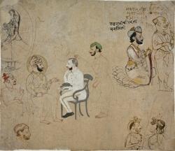 Page of Sketches with Maharao Kishor Singh II (r. 1819–1827) of Kota; Nobleman Thakur Pratap Singh Tanwar; State Officials Mahaprabhuji, Raghuchariji, Hakimlalji; and a British Political Agent, possibly Major James Caulfield, Political Agent in Haraoti