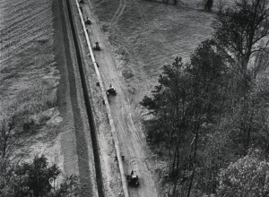 Aerial of Workers for Gulf Interstate Gas Co. Laying Pipeline for Natural Gas