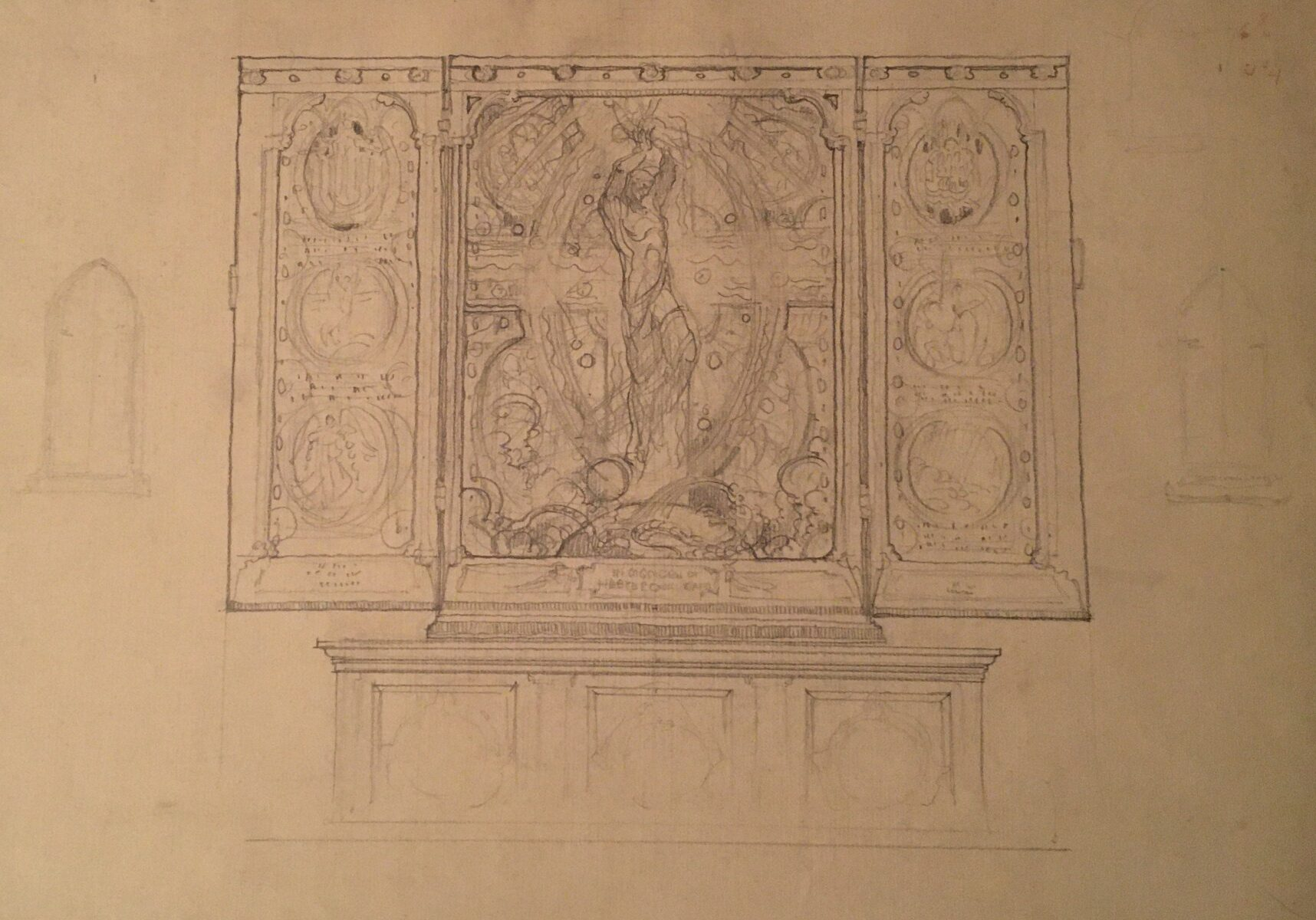 Violet Oakley, American, 1874–1961. Study for The Great Wonder on an Altar, ca. 1916- 1922. Pencil on paper. Gift of the Violet Oakley Memorial Foundation; 1982.36.3.
