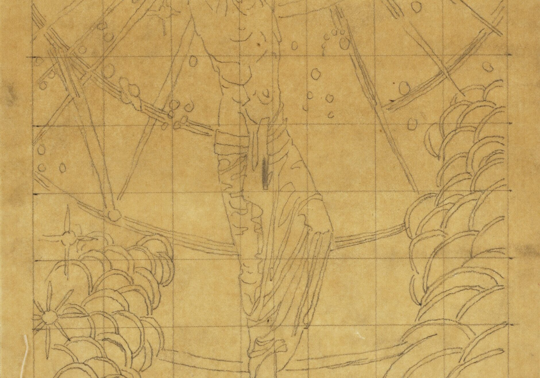 """The Great Wonder, c. 1924 Pencil on heavy tracing paper Gift of the Violet Oakley Memorial Foundation, 1982.36.9  As a leading painter during the art movement known as the American Renaissance (ca. 1876- 1917), Violet Oakley was interested in medieval-revivalism, which inspired her designs for both The Great Wonder triptych and an accompanying illuminated manuscript with the same title (on display nearby). This drawing is a preparatory study for the illustration of the """"woman clothed with the sun"""" in Oakley's illuminated manuscript. The pencil sketch is """"squared"""" for transfer; that is, the artist has overlaid the composition with a grid so that she could replicate her design on a larger or smaller scale without losing any details. Oakley uses careful and economical strokes to depict the Apocalyptic Woman, who represents the Christian Church, triumphing over the dragon, which symbolizes Satan. Oakley's composition fit well with the donor of The Great Wonder triptych, Louise Meigs's wish that the work """"express a noble idea of womanhood."""" And, as Oakley herself later observed, the painting """"unveils the high idea of Woman and the offspring of her own labors."""""""
