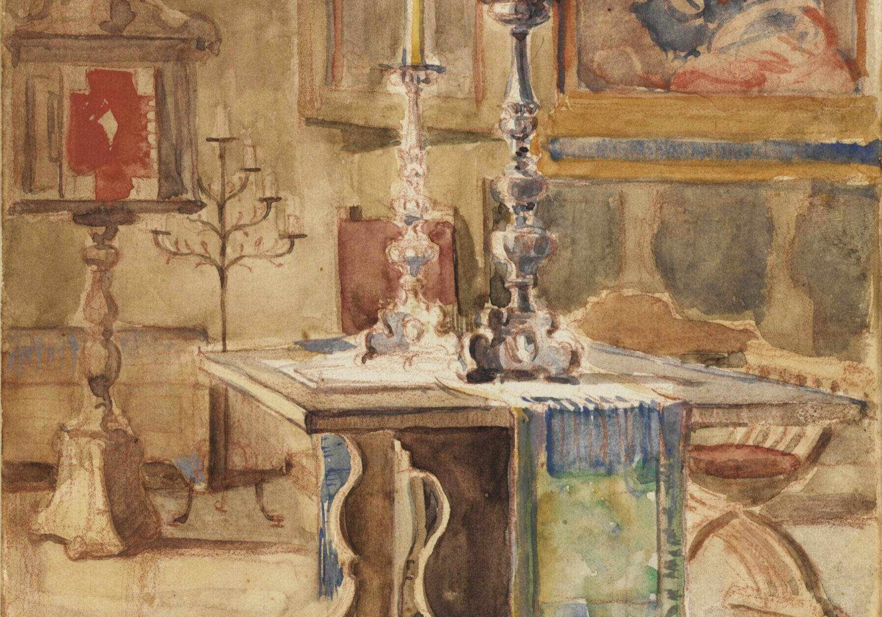 Violet Oakley American, 1874–1961 Study for the Alumni House Living Room: Table and West Wall, 1924 Watercolor over pencil on paper Gift of the Violet Oakley Memorial Foundation, 1983.29.1