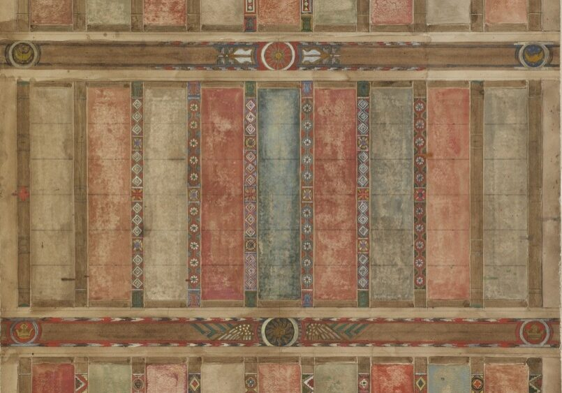 Violet Oakley, American, 1874–1961. Study for Painted Beamed Ceiling, ca. 1922-1924. Watercolor over pencil on board. Gift of the Violet Oakley Memorial Foundation; 1983.29.19.  In this watercolor study for the painted ceiling of the Alumnae House living room, Violet Oakley experimented with different geometric designs and muted colors to evoke the Italian Gothic ceilings she observed on a trip to Florence in the early 1920s. Along with two other watercolor studies displayed nearby, this work demonstrates Oakley's comprehensive vision for the entire living room. It was important to the painter that her large-scale triptych, The Great Wonder, stand in harmony with its setting. As a result, Oakley designed all of the architectural details and carefully selected the furniture so that, collectively, every aspect of the living room was executed in a coherent, medieval-revival style. Though only one element of the overall interior design of the living room, this beautiful preparatory sketch for the beamed ceiling offers a glimpse into Oakley's unique artistic vision for Alumnae House.