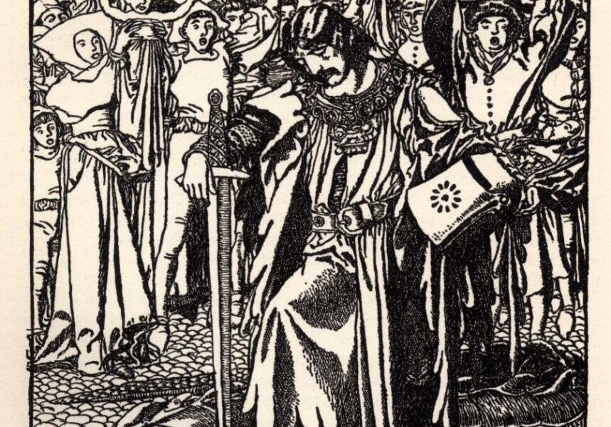 Illustration from Howard Pyle, The Story of Sir Launcelot and his Companions (New York, C. Scribner's Sons, 1907).